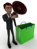 3d mężczyzna z torba na zakupy i mówcy pojęciem Obraz Stock