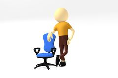 3d mężczyzna z wygodnym komputerowym krzesłem Fotografia Royalty Free