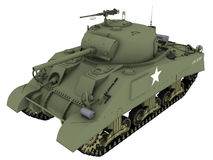 3d M4A4谢尔曼坦克的翻译 免版税库存照片