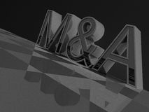 3D M&A word Stock Image