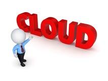 3d mała osoba i słowo chmura. Obrazy Royalty Free