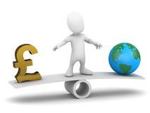 3d Mały mężczyzna balansuje pieniądze i świat Zdjęcie Royalty Free