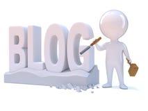 3d Mały mężczyzna tworzy blog ilustracja wektor