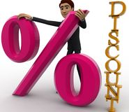 3d ma with discount percentage concept Royalty Free Stock Image
