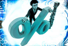3d ma with discount percentage illustration Stock Photos