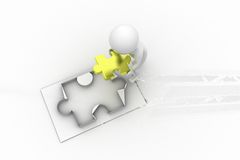 3d ma holding piece of puzzle concept Royalty Free Stock Photos