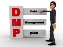 3d ma nwith debt management plan concept Stock Photos