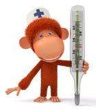 3d małpy lekarka Obrazy Royalty Free