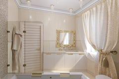 3d maak luxebadkamers binnenlands ontwerp in een klassieke stijl Royalty-vrije Stock Fotografie