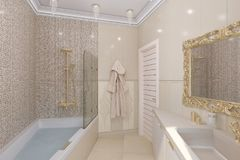 3d maak luxebadkamers binnenlands ontwerp in een klassieke stijl Royalty-vrije Stock Afbeelding