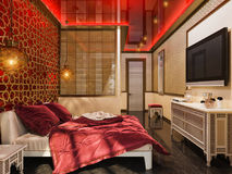 3d maak slaapkamer Islamitische stijl binnenlands ontwerp Royalty-vrije Stock Afbeelding