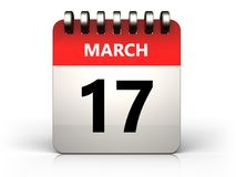 3d 17 maart-kalender Royalty-vrije Stock Foto's