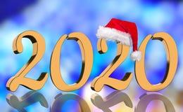 3D machen - das Jahr 2020 in den goldenen Zahlen mit einer roten Santa Claus-Kappe widergespiegelt stockfotografie