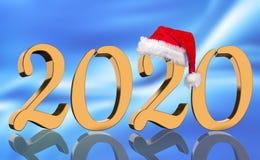 3D machen - das Jahr 2020 in den goldenen Zahlen mit einer roten Santa Claus-Kappe widergespiegelt lizenzfreie stockfotos