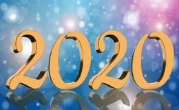 3D machen - das Jahr 2020 widergespiegelt in den goldenen Zahlen stockbilder