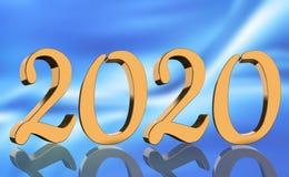 3D machen - das Jahr 2020 widergespiegelt in den goldenen Zahlen stockfotografie
