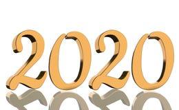 3D machen - das Jahr 2020 widergespiegelt in den goldenen Zahlen lizenzfreie stockfotografie