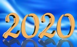 3D machen - das Jahr 2020 widergespiegelt in den goldenen Zahlen vor modernem blauem Hintergrund lizenzfreie abbildung