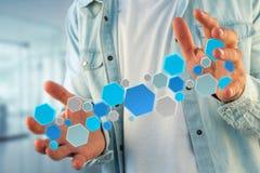 3d machen leeren Antrag gestellt vom blauen hexa Knopf, der an angezeigt wird Lizenzfreies Stockfoto