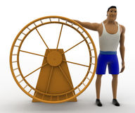 3d macho man with big hamster wheel concept Royalty Free Stock Photography