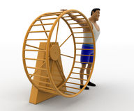 3d macho man with big hamster wheel concept Royalty Free Stock Photo