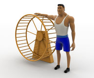 3d macho man with big hamster wheel concept Stock Photos