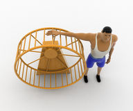 3d macho man with big hamster wheel concept Stock Image