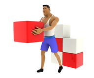 3d macho man carry and arrange cubes concept Royalty Free Stock Image