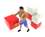 3d macho man carry and arrange cubes concept Royalty Free Stock Photography