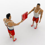 3d macho man giving red book to another man concept Royalty Free Stock Image