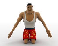 3d macho man on his knee concept Royalty Free Stock Photo