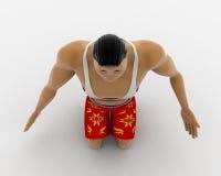 3d macho man on his knee concept Stock Photos