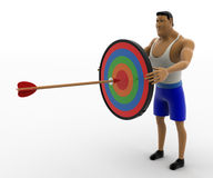 3d macho man holding colorful target board and hitting dart on it concept Royalty Free Stock Photography