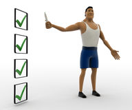 3d macho man with marker and long tick mark list concept Royalty Free Stock Images