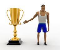 3d macho man present golden award cup concept Stock Image