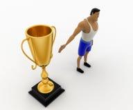 3d macho man present golden award cup concept Royalty Free Stock Photo