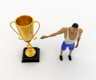 3d macho man present golden award cup concept Royalty Free Stock Images