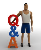 3d macho man  with question and answer text concept Royalty Free Stock Image