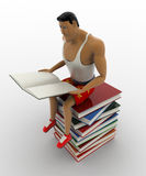 3d macho man sitting on pile of books and reading book concept Royalty Free Stock Image