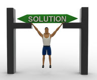 3d macho man with solution gate concept Stock Image