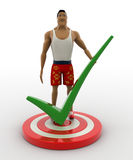 3d macho man standing on target board and with green right tick mark concept Stock Photo