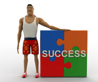 3d macho man with success puzzle pieces concept Royalty Free Stock Images