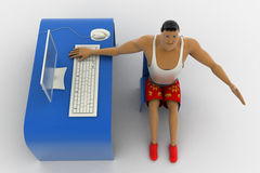3d macho man working in office hand seems happy with work concept Royalty Free Stock Images