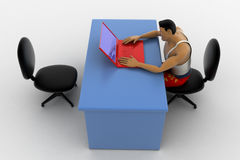 3d macho man working on red laptop concept Royalty Free Stock Photo