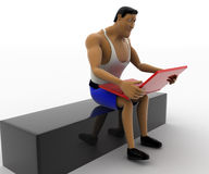 3d macho man working on red laptop while sitting out door concept Stock Images