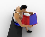 3d macho man working on red laptop while sitting out door concept Stock Photo