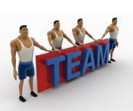 3d macho men standing with TEAM text concept Stock Photos