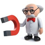 3d mad scientist character holding a magnet. Render of a 3d mad scientist character holding a magnet