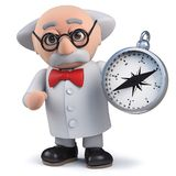 3d mad scientist character holding a magnetic compass. Render of a 3d mad scientist character holding a magnetic compass