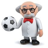 3d mad scientist character holding a soccer ball stock image